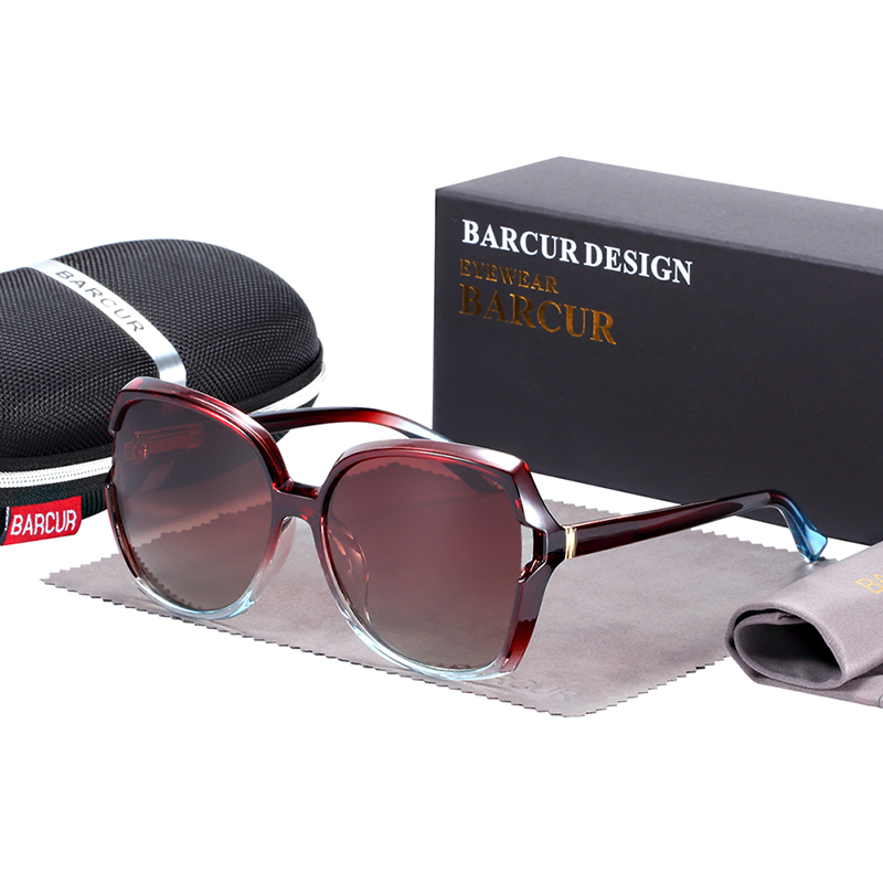 BARCUR Oversize TR90 Sunglasses Women Polarized UV400 with Gradient Lens