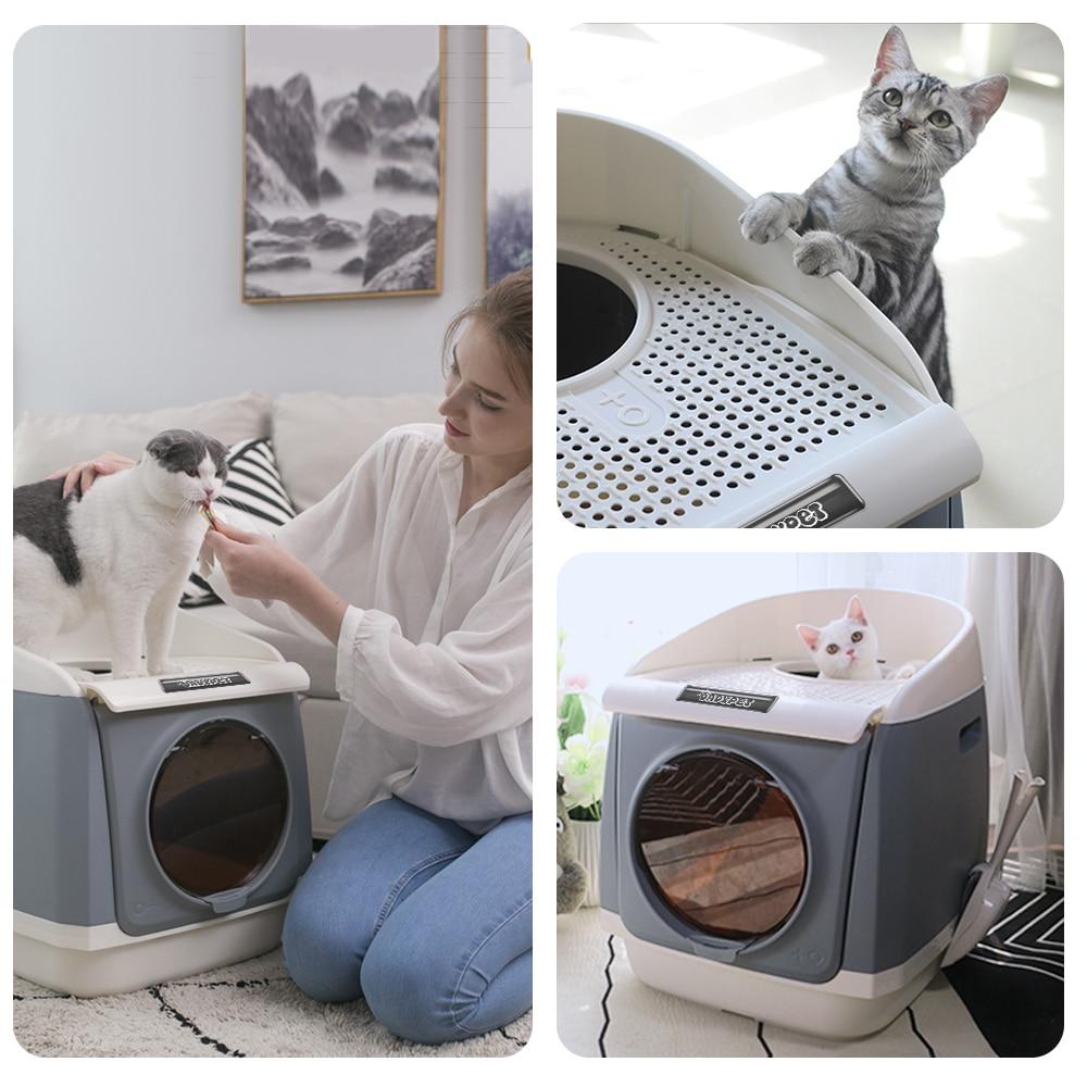 Dadypet gato caixa de areia tampa gatos toalete à prova de respingo totalmente fechado pet caixa de areia suprimentos de gato com grande colher de areia ergonómica 3