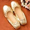 Calidad de la marca Mujeres de Los Planos de Barcos Zapatos Planos Del Ballet de Cuero Genuino Oro Plata Mujeres Zapatos Mocasines Alpargatas Chaussure Femme