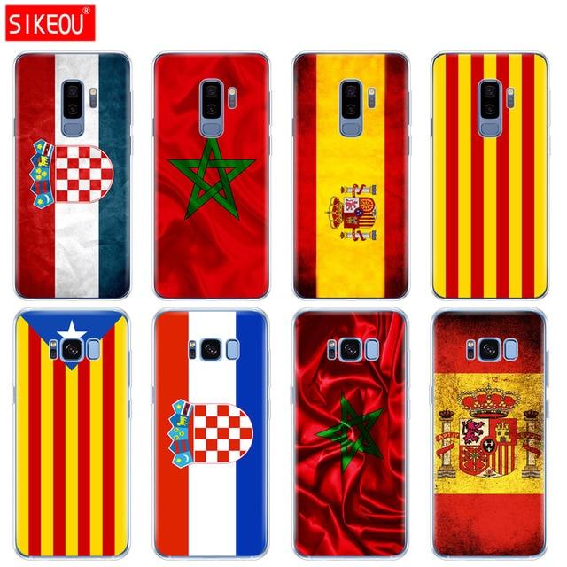 Silicone trường hợp đối Với Samsung Galaxy S9 S8 S7 S6 cạnh S5 S4 S3 CỘNG VỚI điện thoại bao gồm các Tây Ban Nha Morocco Croatia sáng cờ