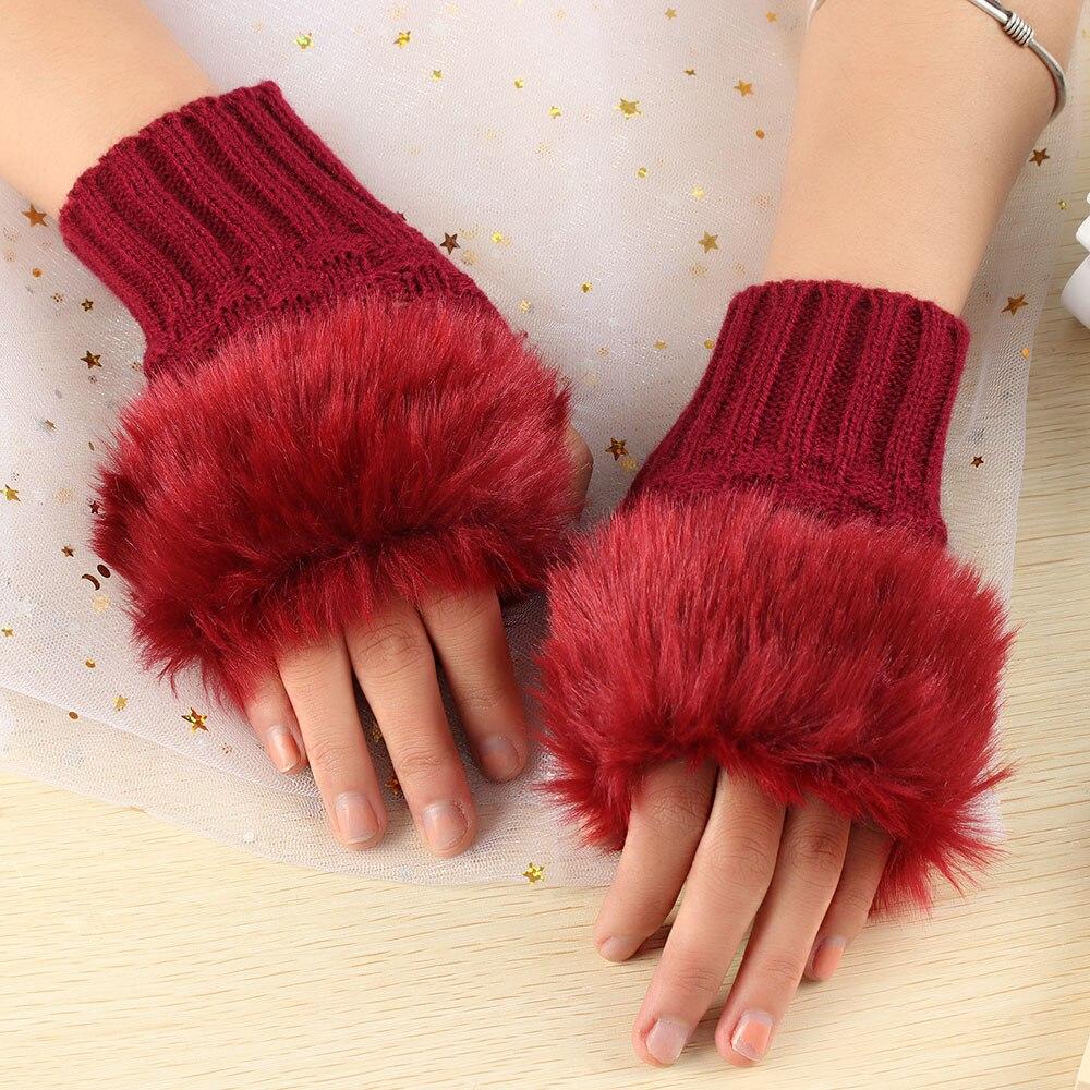 Winter Women Rabbit Fur Warm Knitted Mitten Gloves C