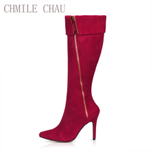 2016 Winter Sexy Party Shoes Women Stiletto High Heels Ladies Knee-High Boots Zapatos Mujer 70887BT-d5