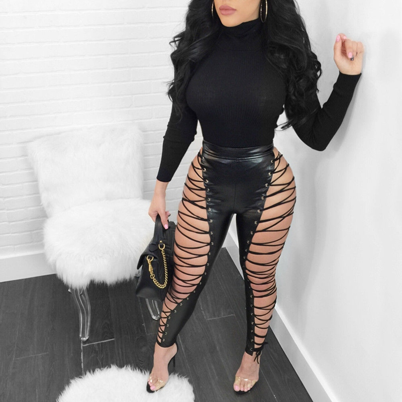 Plus Size Women High Waist Bandage Hollow Out Slim Casual   Pants   Ladies Skinny Trousers   Pants   Clubwear