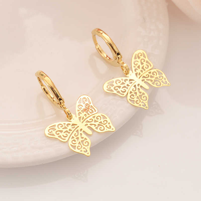 high quality Fashion Gold Filled Women's Drop Earring Dangle Earring Charms Jewelry butterfly  Earrings brincos Vintage girls
