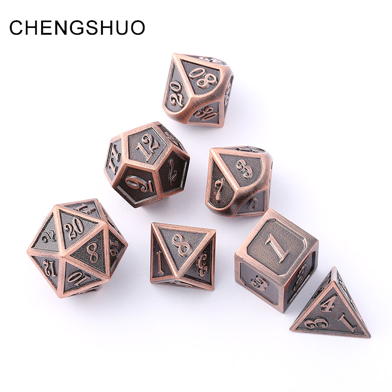Chengshuo dnd dice metal rpg sets dungeons and dragons polyhedral 7pcs d20 10 6 8 12 Zinc alloy dice bronze table games digital