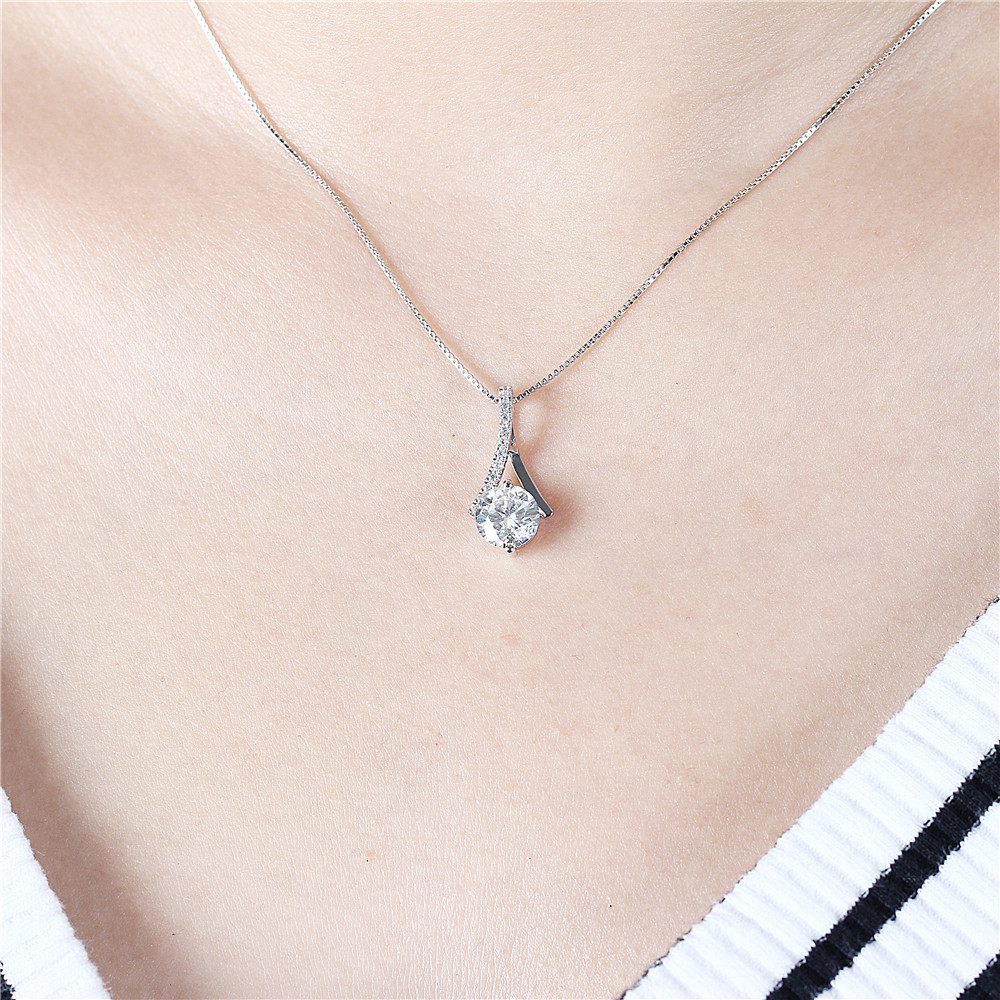 Transgems Genuine 14K 585 White Gold 1 64CTW 7 5mm Round Brilliant GH Color Moissanite Pendant with Accent Necklace for Women in Pendants from Jewelry Accessories