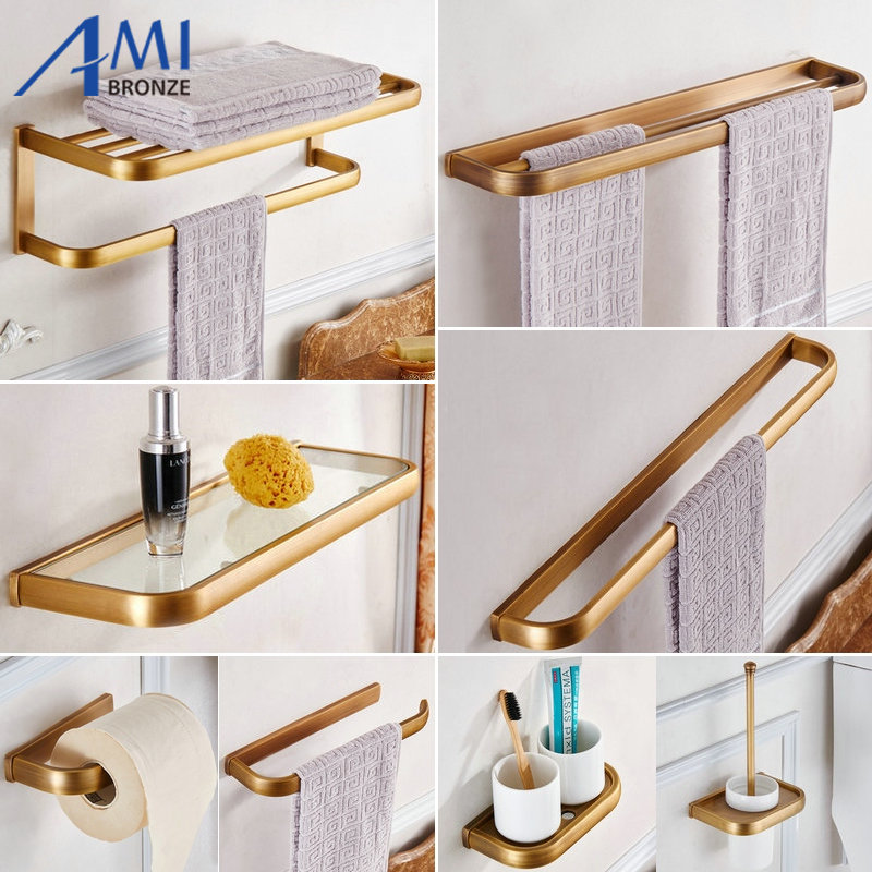 FZ Series Antique Brushed Thicker Bathroom Accessories Bath Hardware Set  Towel Shelf Towel Bar Paper Holder