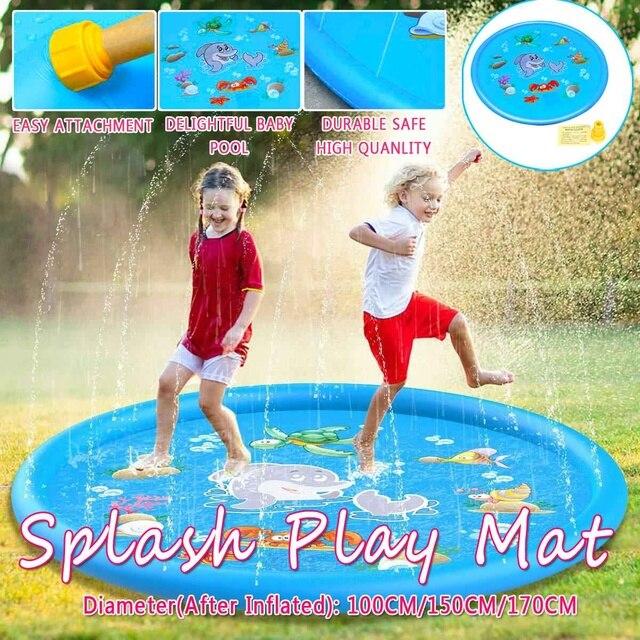 Sprinkle Splash Play Mat Fun Summer Spray ToysInflatable Splash Pad Outdoor Water Toys for Children Kids Toddlers 100/150/170 CM