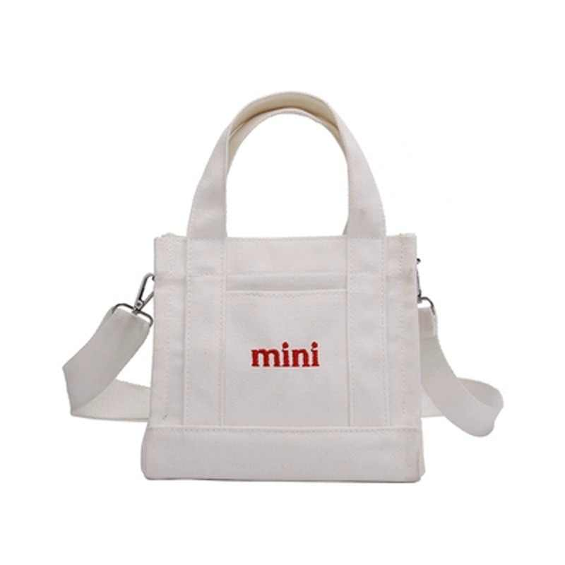 Mini Shopping Bag  White Casual Totes Canvas Totes Beach Bag