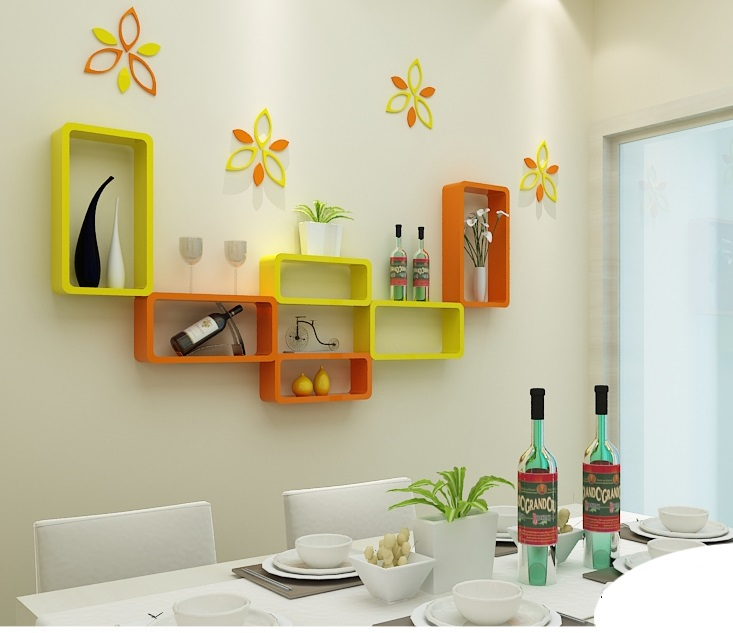 Colorful Floating Shelves Home Design