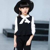 3 pieces /set Girls Clothing Set Long Sleeve Elegant T-shirt + Vest + Pant Kids Girls Princess Clothing Spring Autumn Winter