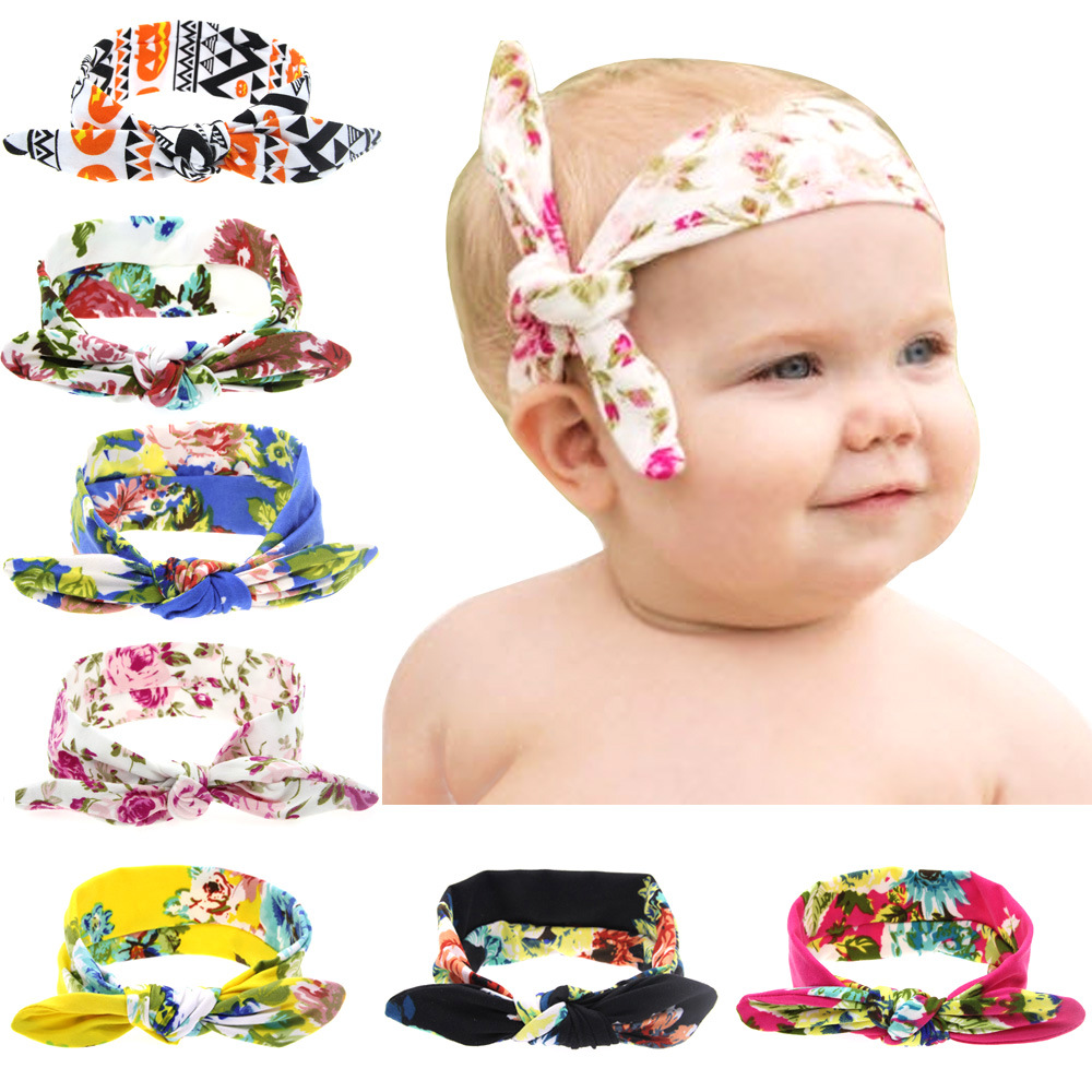Children Rabbit Ears Elastic Hair Bands Printing Cotton Girls Headwear Newborn Infant Hair Accessories Headbands Baby Headdress 13pcs children printing hair rings