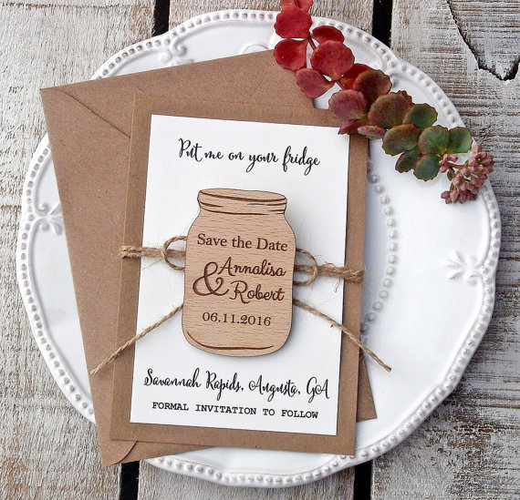 customize Mason Jar rustic Wedding Announcement wooden Save the Date  Magnets bridal shower party favors gifts c0b0b5537036