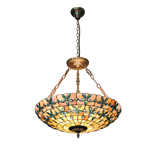 Tiffany Style Stained Glass Hanging Lamp Vintage Mediterranean Shell