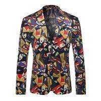 Luksusowe Mężczyźni Blazers 2017 Marka Projekt Foral Blazer Mężczyźni Na Co Dzień Slim Fit Mężczyzna Kostiumu Kurtki Pojedyncze Łuszcz Stage Party Costume Homme
