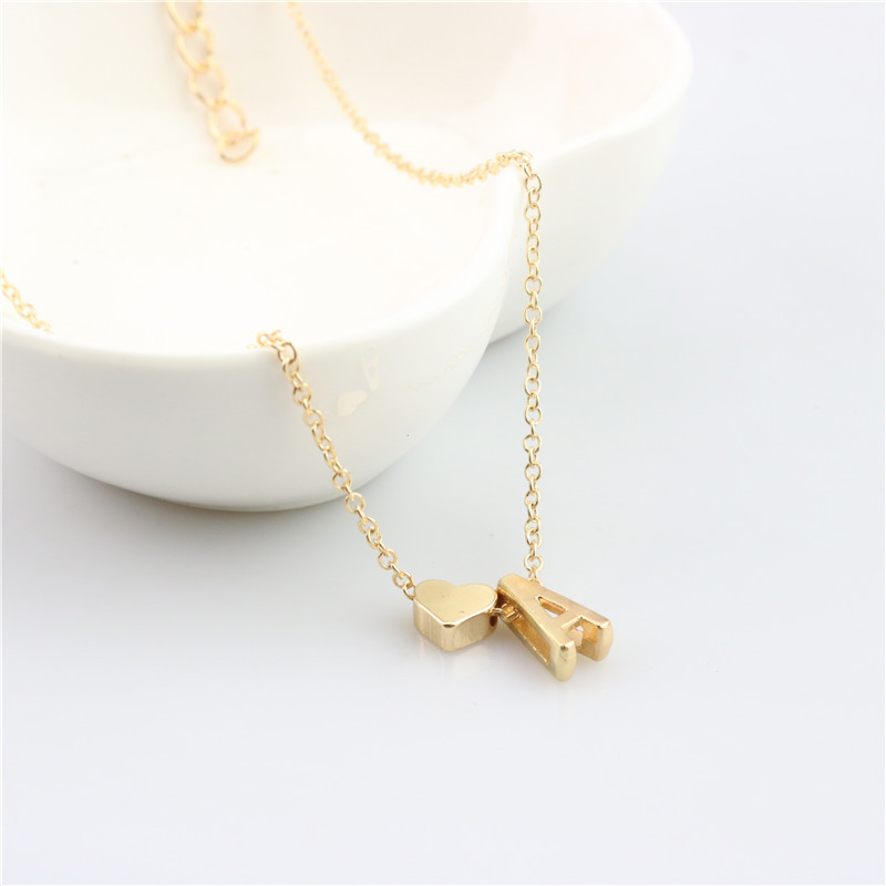 A Letter Simple Necklace Christmas Gift Jewelry a b c d e f g h i j k l m Initial Charm Letter Heart Necklaces For Women Men necklace