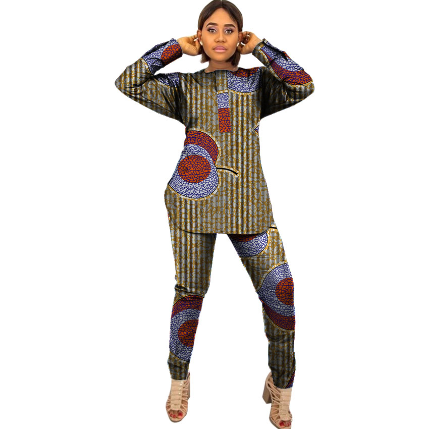 Fashion African Women Tops+Pants Sets Ladies T shirt African Women Two Pieces African Women Clothing Plus Size Party Customized