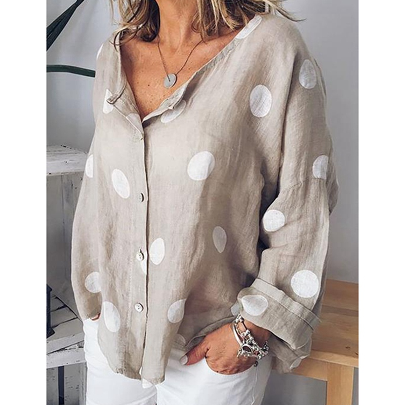 MoneRffi 2019 Polka Dots Print Women Casual   Blouse     Shirt   Long Sleeve Buttons Loose Women   Blouses   Tops Plus Size Basic Blusas