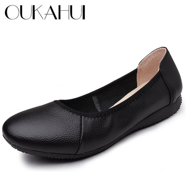 0d963dfc1bb OUKAHUI Classic Shallow Genuine Leather Ballet Flats Shoes For Women Round  Toe Simple Solid Soft Black Ladies Work Shoes Comfort