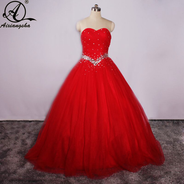 fc3f36dd1c9 2018 Simple Red Quinceanera Dresses Sweetheart Dress With Beading For  Vestidos de 15 Anos Cheap Sweet
