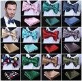 Polka Dot 100%Silk Jacquard Woven Men Butterfly Self Bow Tie BowTie Pocket Square Handkerchief Hanky Suit Set #D4