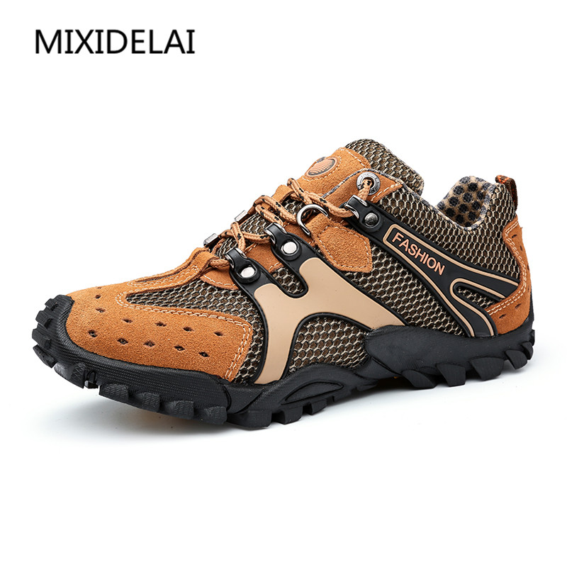 MIXIDELAI New Breathable Light Spring Summer Casual Sneakers Male Mesh Shoes For Men Cow Suede Leather Adult Walking Footwear