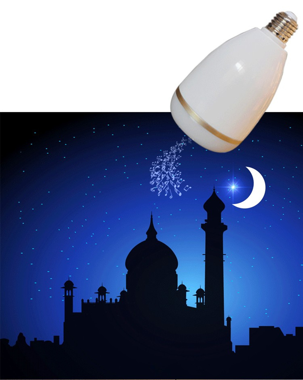 Wireless Bluetooth RGB LED Light Bulb Quran Speaker Remote APP Control Touch Lamp Muslim FM TF Audio Music Player 25 Languages (4)