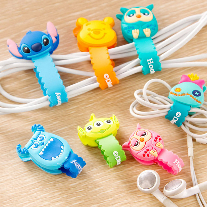 10pcs lot Lovely Stitch Donald Duck Cartoon Cable Winder Headphone Earphone Cable Wire Organizer Cord Holder