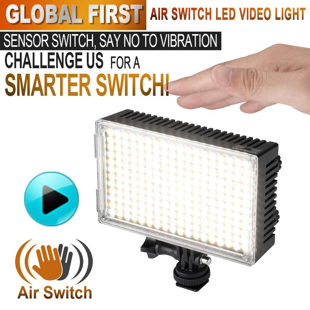 Pergear 216 LED Video Light On Camera Dimmable Air Switch Sensor Light Bi-color 3200K-5500K for Luz LED DSLR Camera Camcorder фотографическое освещение pergear led 3200k 5500k 298