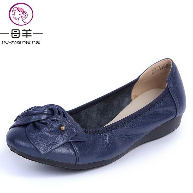 Mujeres de Los Planos, 2017 de La Manera Zapatos de Mujer Mocasines, las mujeres de Cuero Genuinos Planos Ocasionales Zapatos Cómodos Suaves Zapatos de Las Mujeres