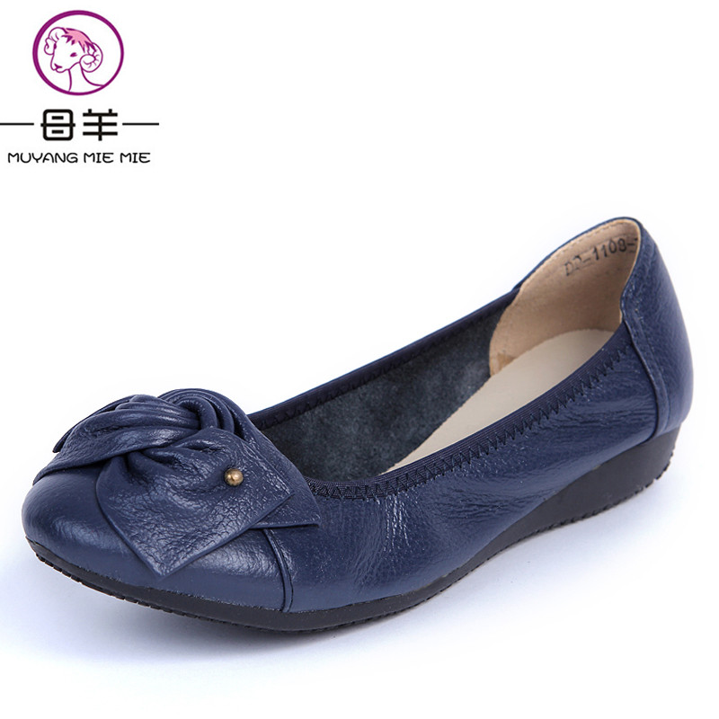 Women Flats 2017 Fashion Shoes Woman Loafers women Genuine Leather Casual Flat Shoes Soft Comfortable Women