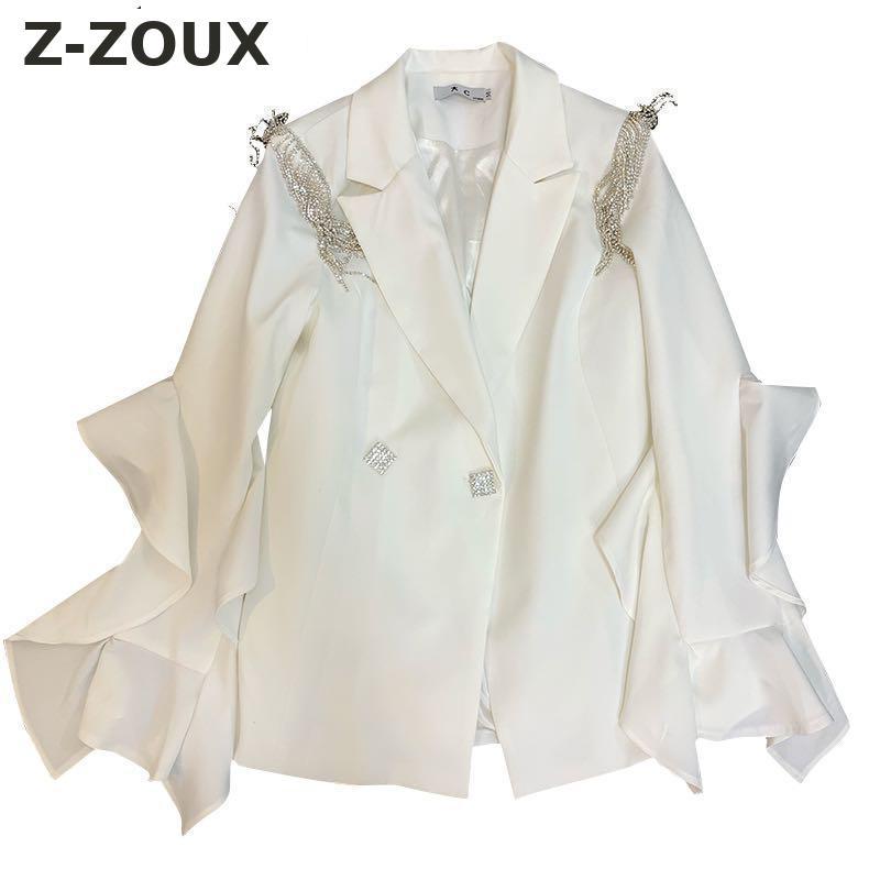 Z-ZOUX Women Coat Women Suit Coats Diamond Bell Sleeve White Women Blazers Jackets Long Sleeve Vintage Fashion Woman Blazer thumbnail