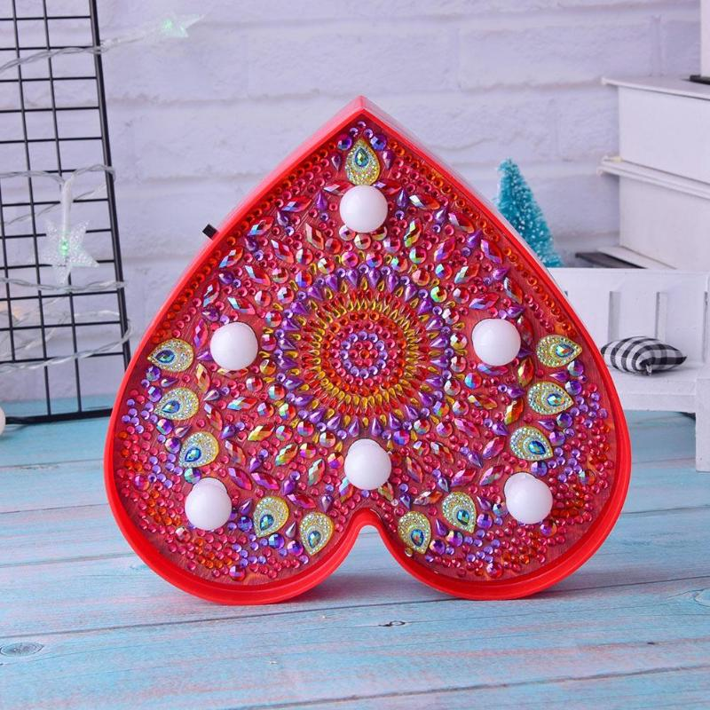 DIY Heart Shaped Diamond Painting Lamp Full Drill Mandala LED Modeling Night Light Home Decoration Ornament Lamp Lighting