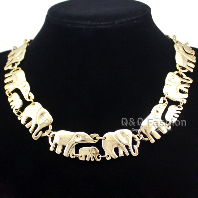 Gold Silver African Elephant Baby Link Hindu Ganesh Chain Collar