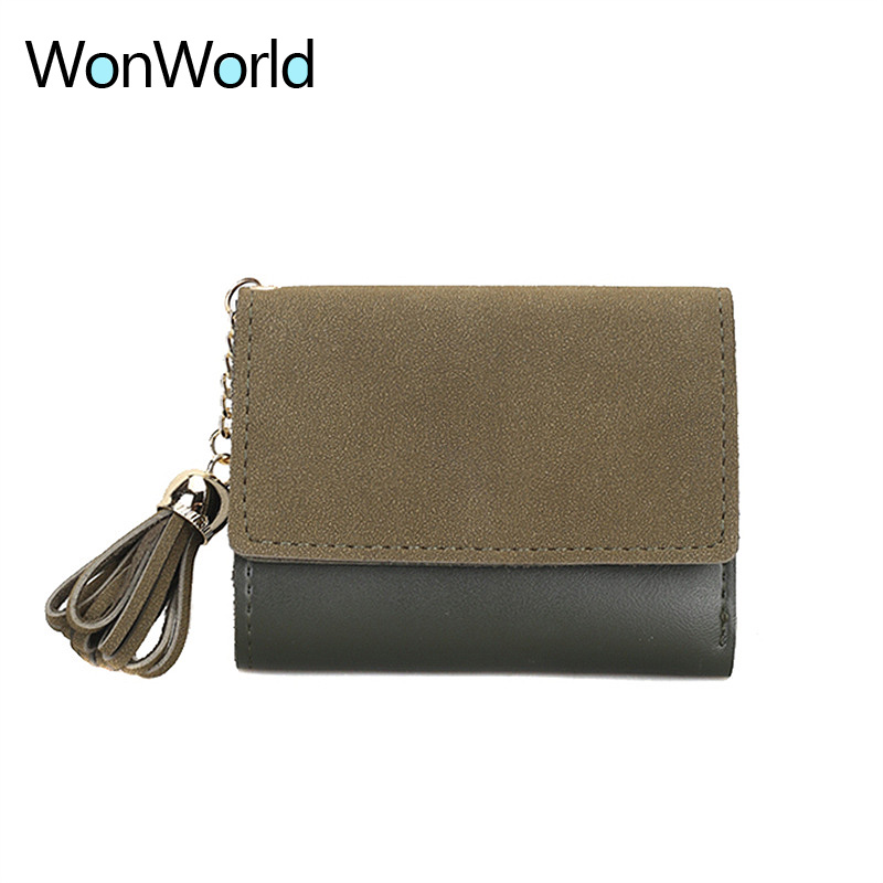 2018 mini women wallet organizer wallet travel Casual Clutch Tassel matte portefeuille femme cuir Slim carteira feminina wallets 1