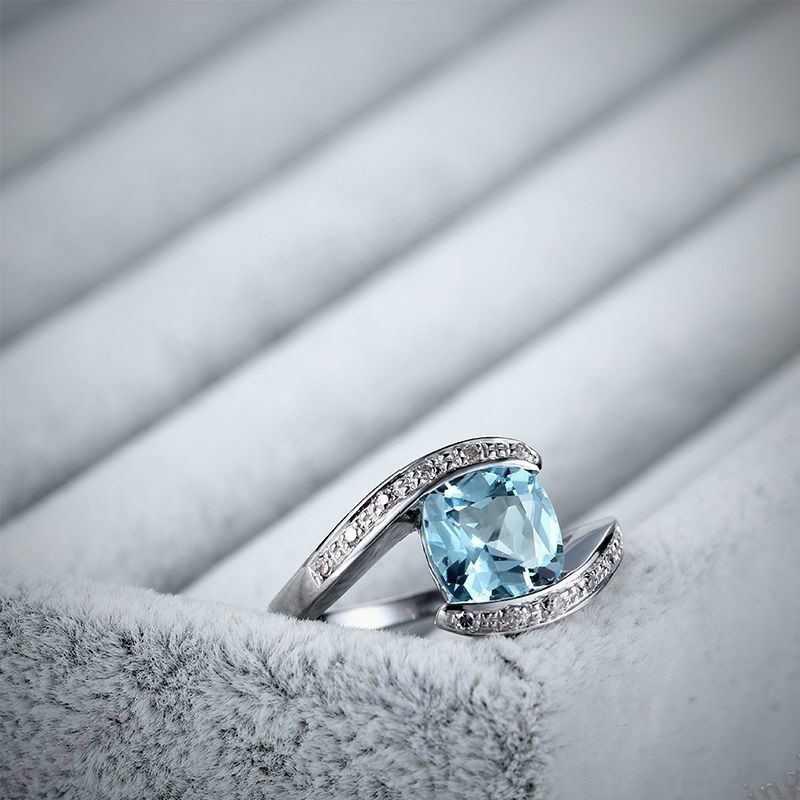 Прозрачный со светло-голубым камнем серебряное кольцо с хрусталем Для женщин Свадебная мода площади красочный палец кольцо