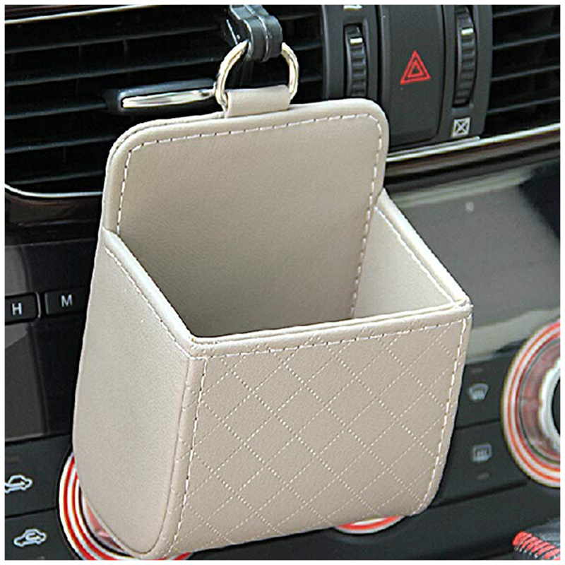 Car Storage Bag Auto Storage Case Seat Back Interior Air Vent Tidy Coin Organizer Cellphone Holder Pounch Box With Hook LB009