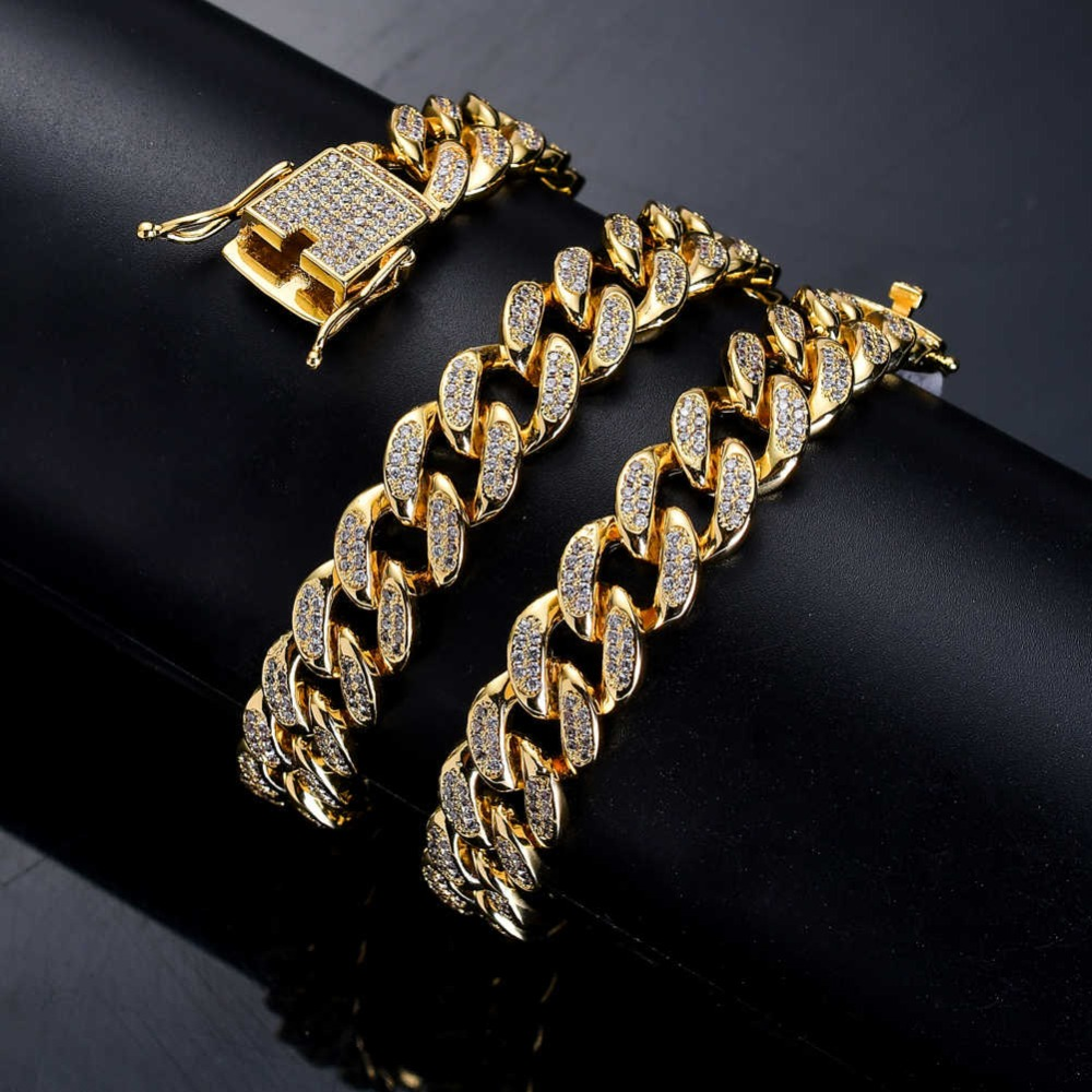BNRESALE 12mm Luxury Copper AAA Zircon Hip Hop Full Iced Out Miami Cuban Chain Necklace Micro