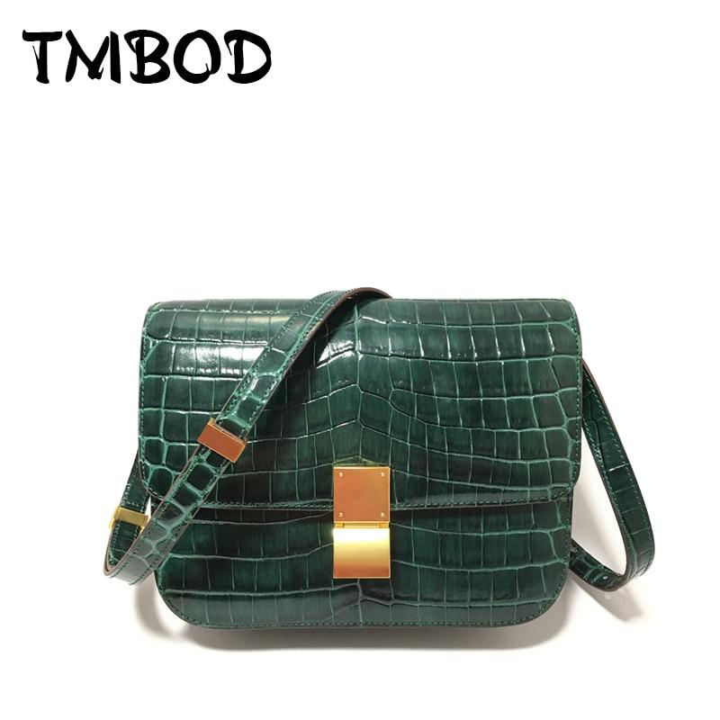Hot 2019 Classic 2 Size Retro Alligator Flap Crossbody Bag Women Split Leather Handbags Lady Messenger
