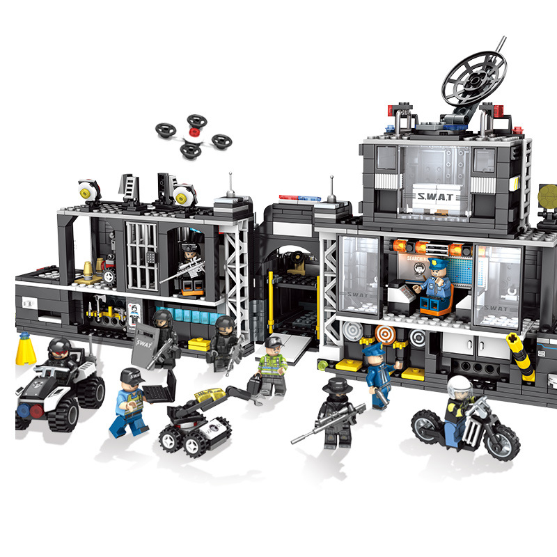 1164 個子供のビルディングブロックのおもちゃ互換 Legoingly 市ブラックホーク特殊部隊特殊警察携帯コマンドベース  グループ上の おもちゃ & ホビー からの ブロック の中 1