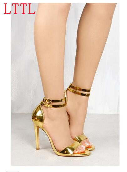 ФОТО Shiny high heel sandals open toe super high thin 11 cm heels buckle strap lace-up gold black sandals for women shoes gold black