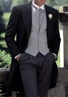 Black Jacket Stipe Pants 3 Pieces Swallow Tail Coat Latest Coat Pants Designs 2019 High Quality Fashion Tern