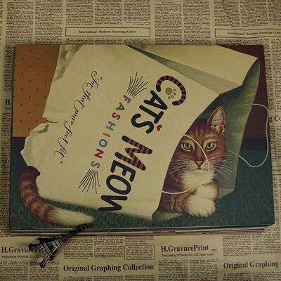Vintage Kraft Kertas Poster Cat Art Retro Lukisan Dinding Stiker