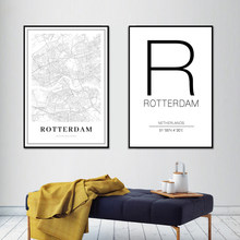 Rotterdam City Map Netherlands Black and White Prints Art Canvas Painting Posters Wall Art Pictures for Living Room Home Decor(China)