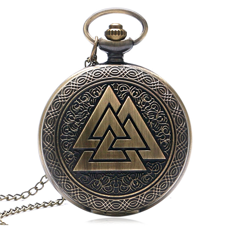 Retro Valknut Three Interlocking Triangles Norse Mythology Antique Quartz Pocket Watch Women Men Analog Fob Watch Christmas Gift