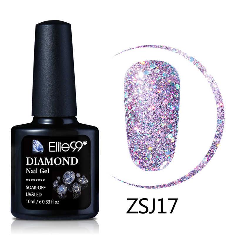 Elite99 10 Ml Diamond Warna Kuku Gel UV LED Gel Polandia Bling Glitter Payet Rendam Off Base Top Primer Kuku seni Gel Varnish
