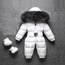 2018 зимние теплые детские комбинезоны, детский комбинезон на утином пуху, детские комбинезоны для маленьких мальчиков и девочек, открытый комбинезон с меховым капюшоном, одежда