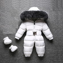 2019 Winter Warm Baby Rompers Jumpsuit Children Duck Down Overalls Toddler Kids Boys Girls Outdoor Fur Hooded Romper Clothes jumpsuit duck down hooded fur collarjackets for newborns snowsuit warm overalls wear infant kids girl winter romper clothing set