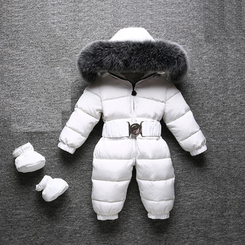 2019 Winter Warm Baby Rompers Jumpsuit Children Duck Down Overalls Toddler Kids Boys Girls Outdoor Fur Hooded Romper Clothes iyeal newborn baby snowsuit children infant winter coat warm liner hooded zipper jumpsuit boys girls duck down outwear overalls