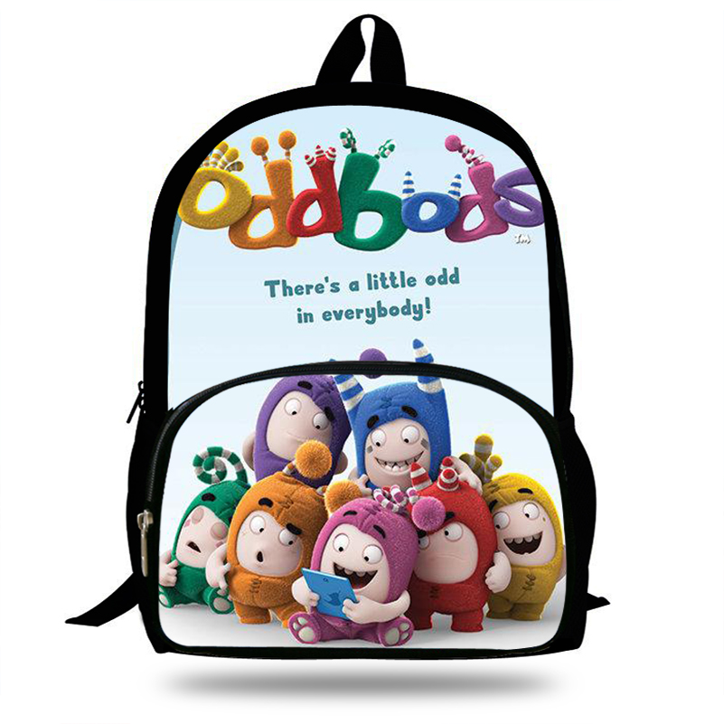 16inch Cartoon Cute Oddbods Print Kids Backpack School Bag For Teenage Boys/Girls Shoulder Bags Children Backpack